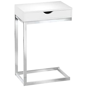 Amazon.com: Monarch Specialties I 3031, Accent Table With A Drawer, Chrome  Metal, Glossy White: Kitchen U0026 Dining