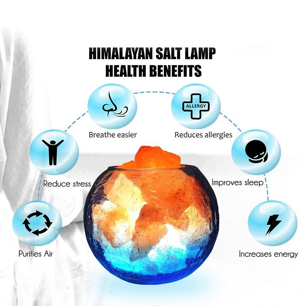 LUCKSTAR Natural Himalayan Crystal Salt Lamp- USB Natural Salt Crystal Chunks with Stripe Indoor Decoration Dimmer Switch Soft Warm Healthy Negative Ion Air Purifying Lamp,Table Lamp Bedroom Lava Lamp by LUCKSTAR (Image #6)