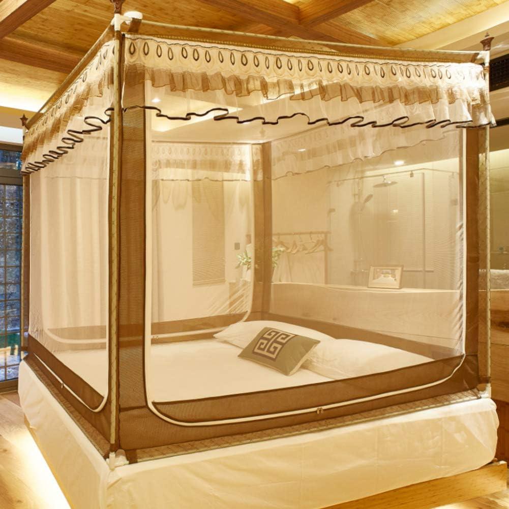 姫蚊ネット,4 コーナー アンチ-倒れる ベッドキャノピー 王のための刺繍蚊のテント クイーン ベッド-ブラウン