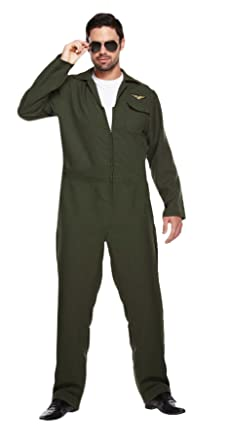 Hommes Vert AVIATEUR Flight Suit Combinaison Fighter Pilote Costume  déguisement Standard et XL - Vert, bf161b5b192