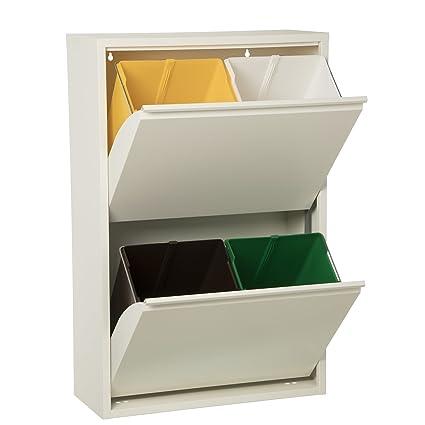 Cesar Papelera Reciclaje con Cuatro Cubos de Colores 60x25x92cm