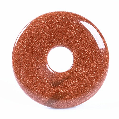 Beautiful Jasper Pendant (40mm Beautiful Gemstone Jasper Donut Pendant Bead DIY Jewelry Accessories For Necklace (Gold sandstone) )