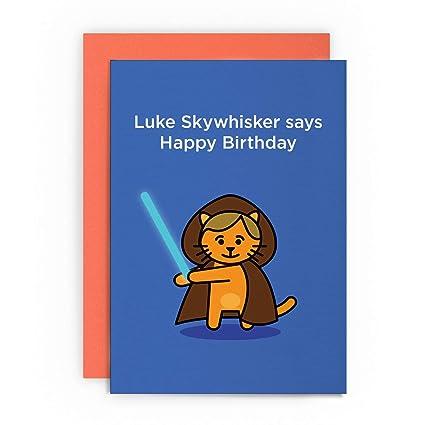 Tarjeta de cumpleaños divertida de Luke Skywalker con diseño ...