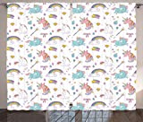 Ambesonne Unicorn Home and Kids Decor Curtains, Magic Unicorn Forms with Colorful Fantasy Cloud and Rainbow Pattern, Living Room Bedroom Window Drapes 2 Panel Set, 108W X 84L Inches, Multi
