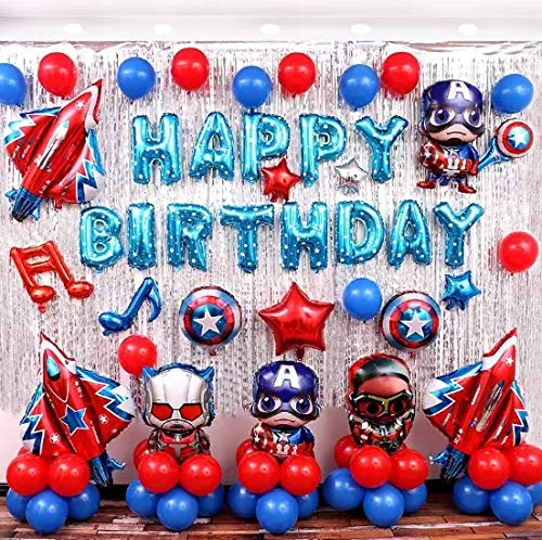 Happy Birthday Children Balloon Iron Man Balloon Birthday party Decoration Captain America The Supper Hero set -