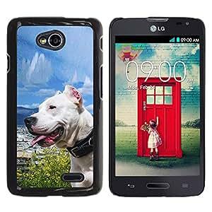 Qstar Arte & diseño plástico duro Fundas Cover Cubre Hard Case Cover para LG Optimus L70 / LS620 / D325 / MS323 ( Sunny Dog Sea Ocean Pit-Bull Terrier Pet)