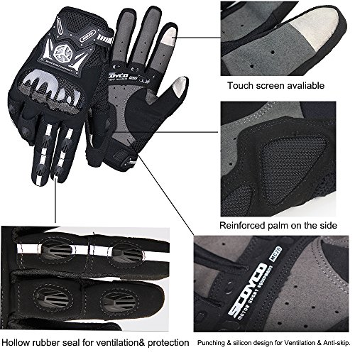 SCOYCO Screen Sensitive Carbon Fiber Knuckle Reinforced Breathable Shockproof Wear Resistant Warm Crashproof Cycling Racing Motorcycle Gloves(BLACK,XL) by SCOYCO (Image #4)