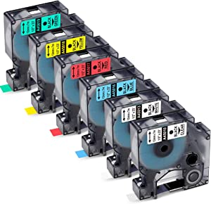 Greateam Compatible Label Tape Replacement for DYMO Labels Cassette 45013 45010 45016 45017 45018 45019 Work with Dymo LabelManager 160 280 PnP 360D 210D,1/2 Inch x 23 Feet, 6 Cartridges