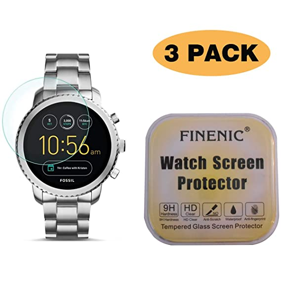 FINENIC Screen Protector for Fossil Q Venture Gen 3 Smartwatch. 9H Tempered Glass Easy-Install No White Edge 3 Pack /…