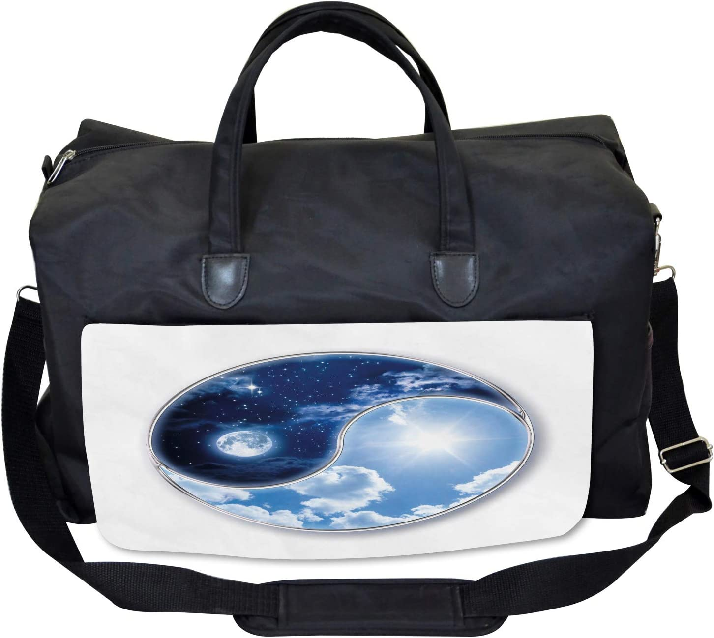 Ambesonne Gym Bag Moon and Sun Figures Large Weekender Carry-on