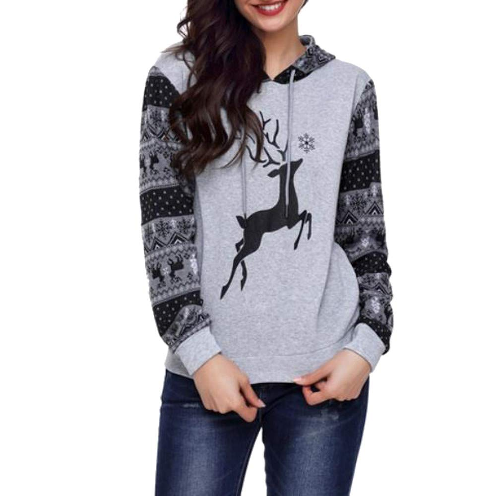 POPLY 2018 Fashion Autumn and Winter Womens Autumn Winter Christmas Elk Printing Hoodies Sweatershirt Tops Blouse Newest Coat