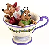 "Enesco Disney Traditions by Jim Shore ""Cinderella"" Jaq and Gus Teacup Stone Resin Figurine, 4.25"""