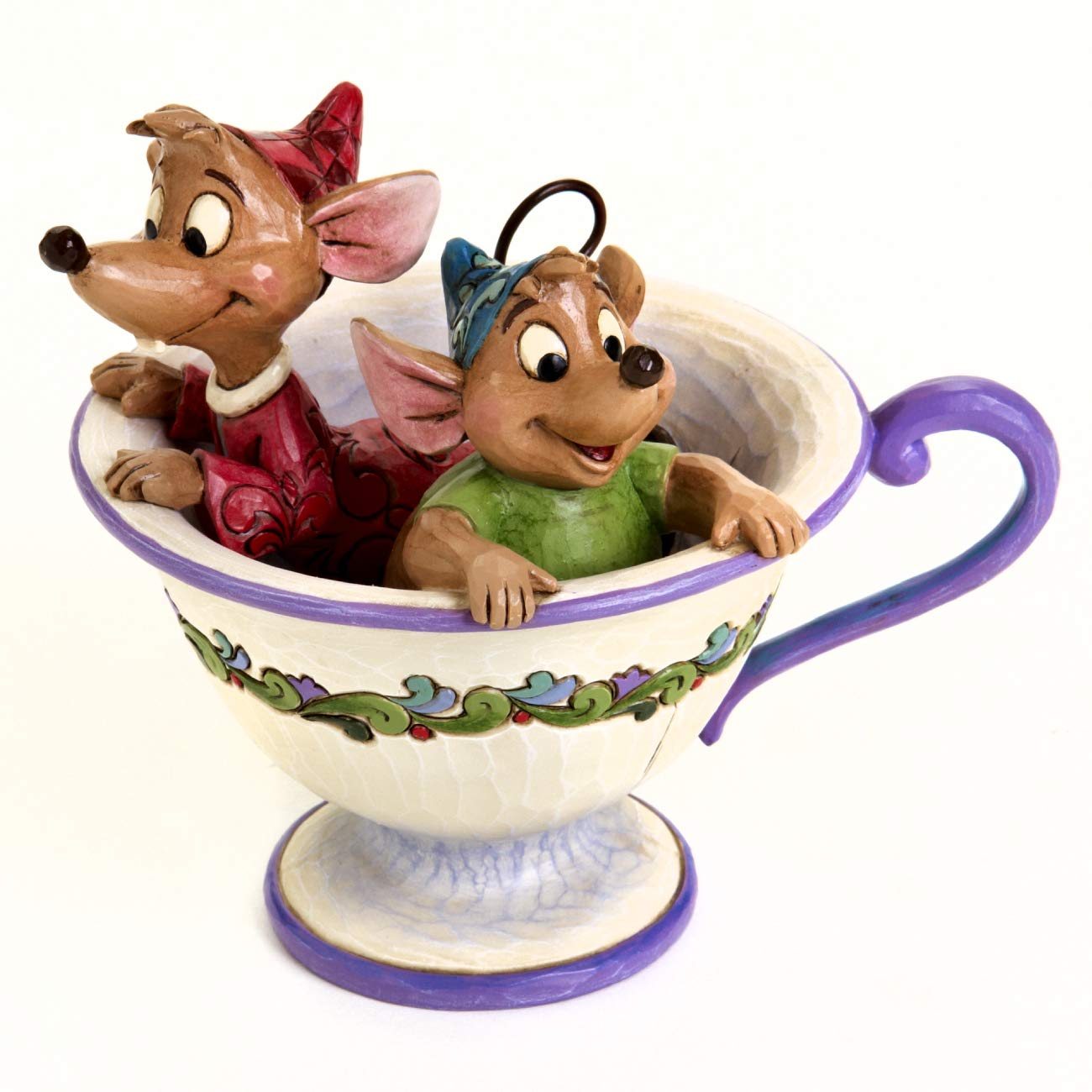 "Disney Traditions by Jim Shore ""Cinderella"" Jaq and Gus Teacup Stone Resin Figurine, 4.25"""