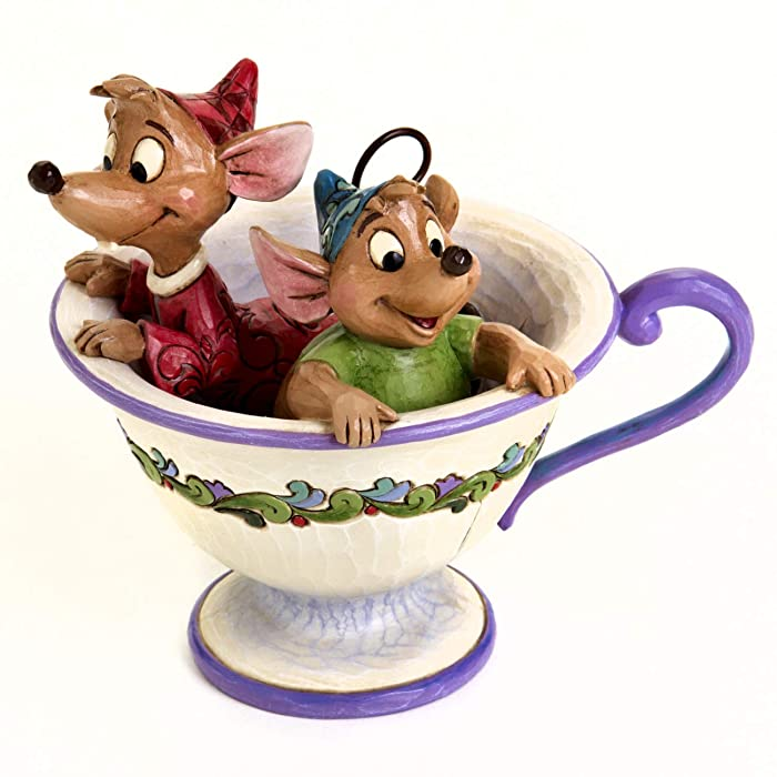 """Disney Traditions by Jim Shore """"Cinderella"""" Jaq and Gus Teacup Stone Resin Figurine, 4.25"""""""
