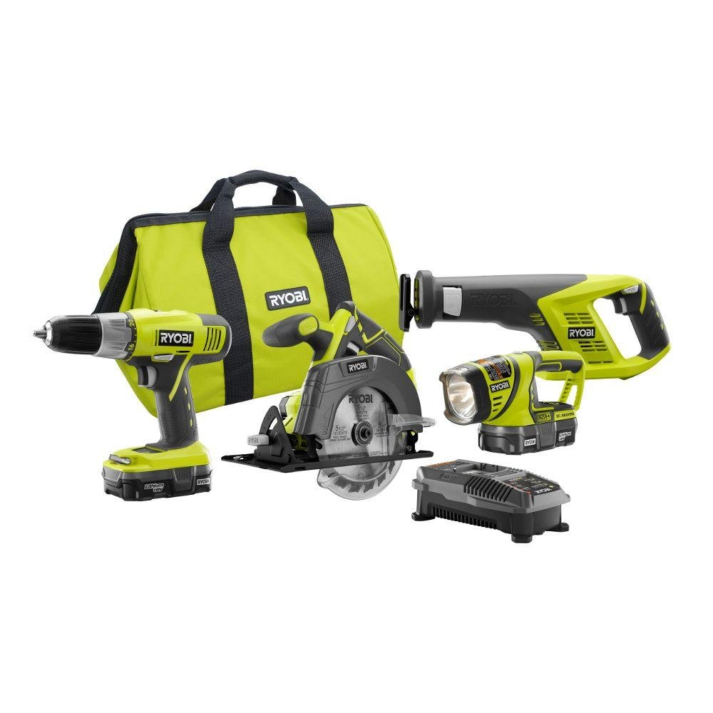 Ryobi P883 One+ 18V Lithium Ion Cordless Contractor's Kit (8 Pieces: 1 x P704 Worklight, 1 x P515 Reciprocating Saw, 1 x Circular Saw, 1 x P271 Drill / Driver, 2 x Batteries, 1 x Charger, 1 x Bag) by Ryobi