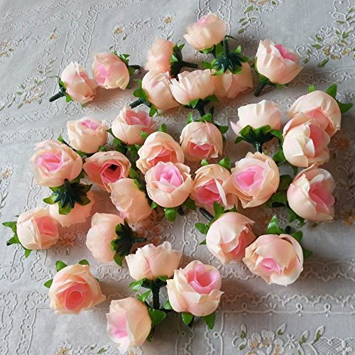Artificial Silk Rose Head Colorfulife 3cm Simulation Flower Bud Wedding Home Party Garden Decoration for Bridal Bouquet Wreath Headwear Clip DIY Accessories (100, Light Pink)