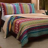 Western Tribal Geometric Chevron Stripe Pattern Print Multicolor Bedding Blue Pink Yellow Luxury Reversible 100 Cotton Quilt Set with Shams Double Full Queen Size - Includes Bed Sheet Straps