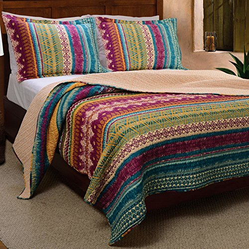 Western Tribal Geometric Chevron Stripe Pattern Print Multicolor Bedding Blue Pink Yellow Luxury Reversible 100 Cotton Quilt Set with Shams Double Full Queen Size - Includes Bed Sheet Straps (Sham Queen Double)