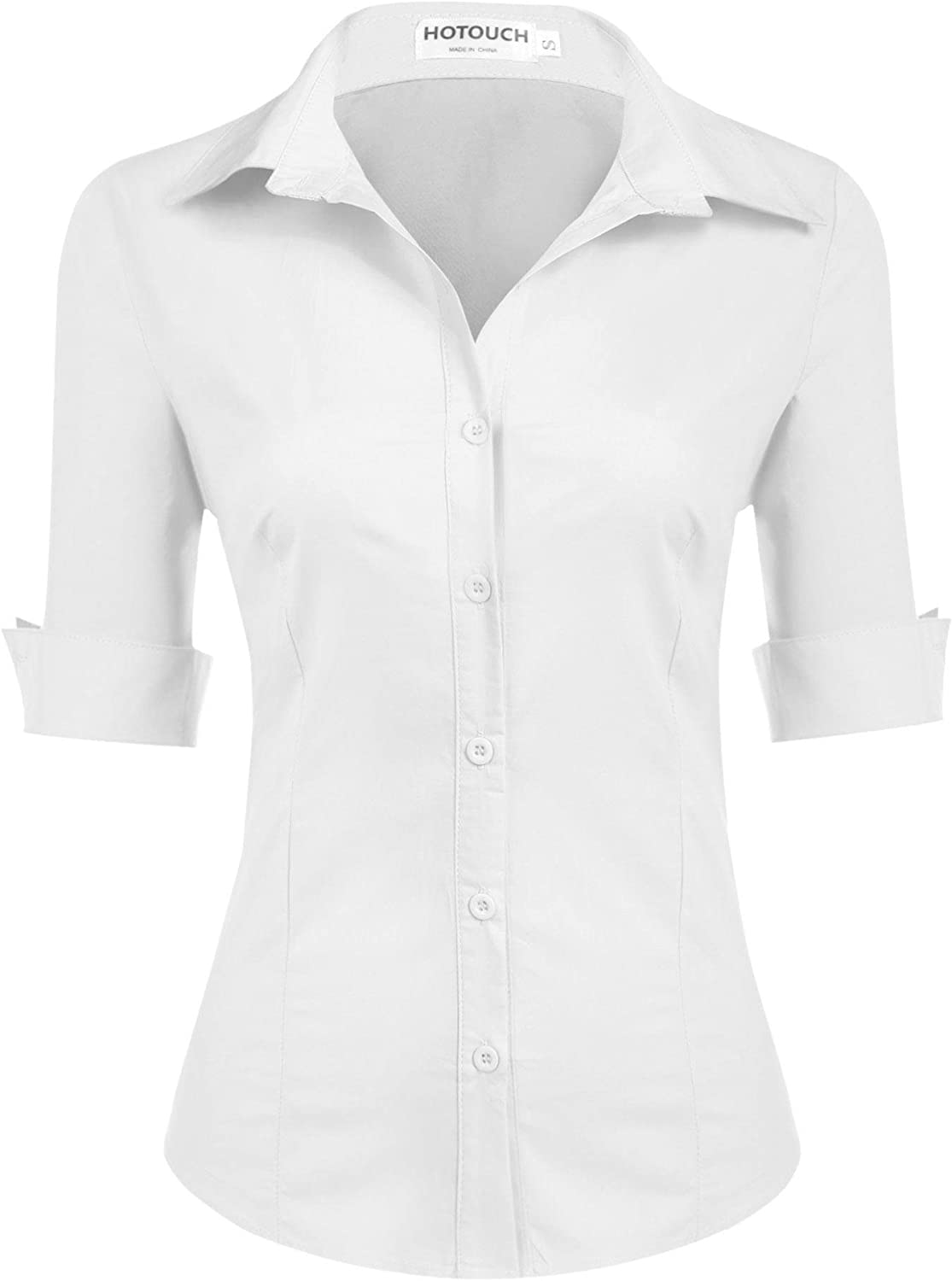 Hotouch Womens 3/4 Sleeve Basic Button Down Shirt Slim Fit Cotton Dress Shirts