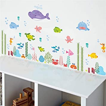 Amazon.com: Bdhnmx Underwater Seabed Fish Bubble Starfish Star Wall Sticker Cartoon Wall Decals Bathroom Decor Nursery Kids Room Poster Mural: Baby
