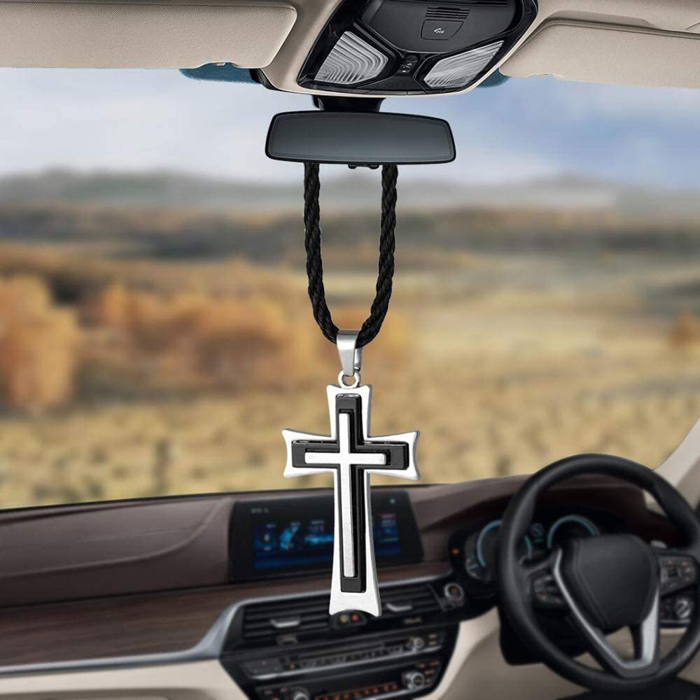 DAIFUQIANG Car Pendant Metal Cross Car Rearview Mirror Ornaments Hanging Auto Car Styling Accessories