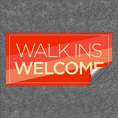 CGSignLab | ''Walk Ins Welcome -Modern Diagonal'' Heavy-Duty Industrial Self-Adhesive Aluminum Wall Decal | 96''x48''