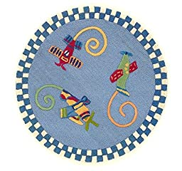 KAS Oriental Rugs Kidding Around Collection Flying Fun Round Area Rug, 3\'