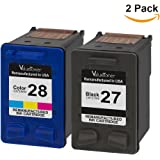 Valuetoner Remanufactured Ink Cartridge Replacement For 27 & 28 C9323FN C8727AN C8728AN (1 Black, 1 Tri-Color) 2 Pack