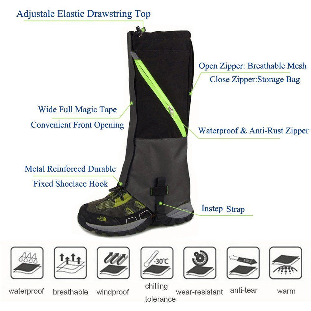 AYAMAYA Hiking Gaiters Waterproof Boot Snow Gaitors, Hiking Equipment Breathable High Boots Shoes Cover Leg Protection Guard, Anti Dust/Mud/Debris/Rock/Bush Snow Gaiters Hunting by AYAMAYA (Image #2)