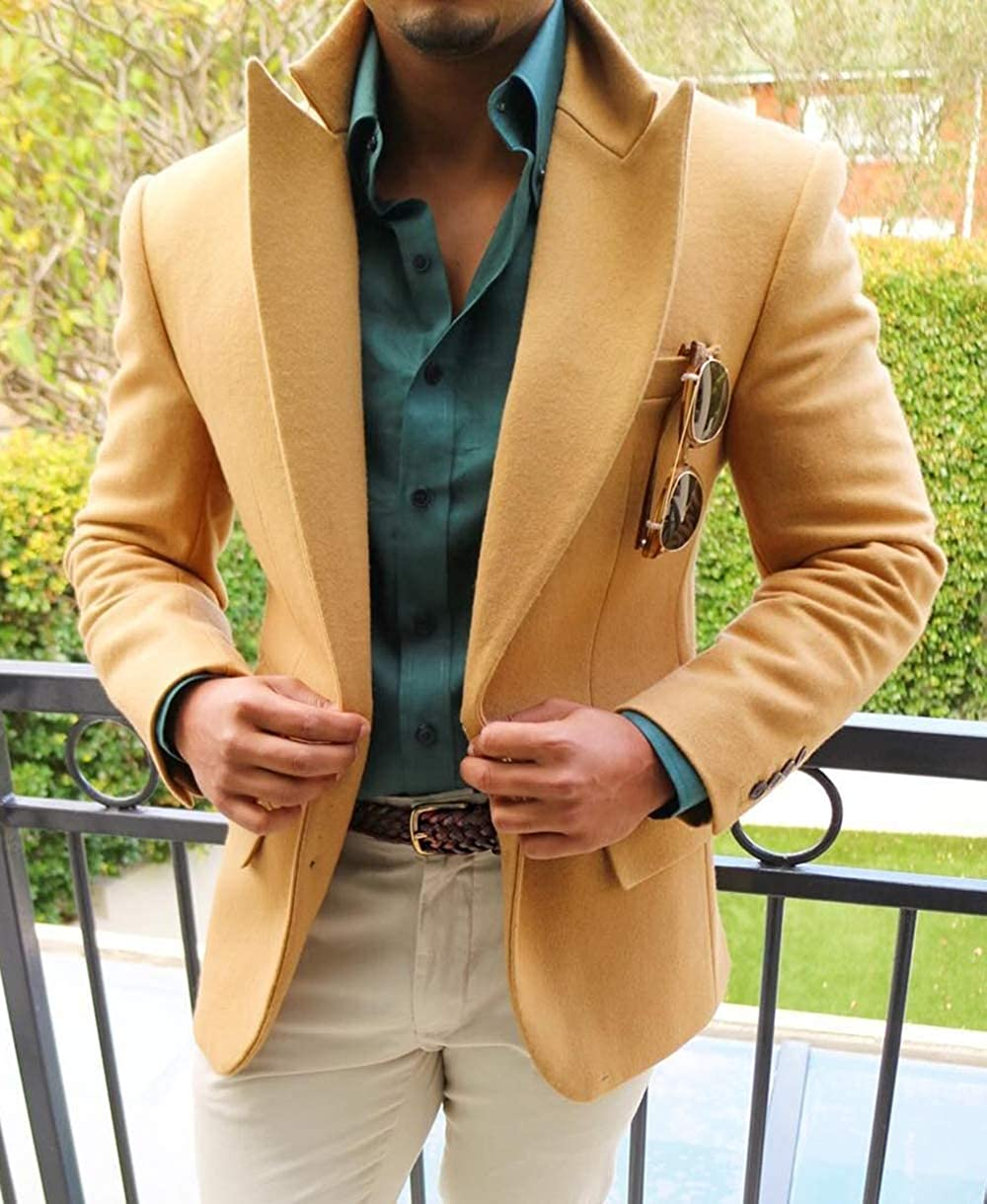 FittyTuxe Mens Suit Formal 2 Pieces Slim Fit Notch Lapel Wool Tweed Men Wedding Suits Blazer+Pants
