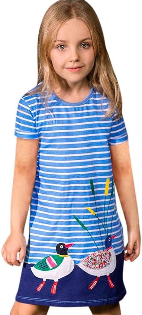 Winkey Baby Girl Dresses Toddler Kids Cartoon Striped Long Tshirt Dress 1-6 Years 12-18 Months, Dark Blue
