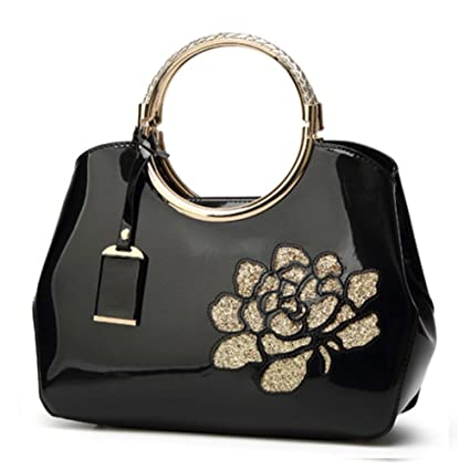 4d073a5fd403 Amazon.com  G-AVERIL Womens Black Handbags Ladies Top Handle Bags Patent  Leather Stylish Tote Shoulder Bags Purse  GAVERIL(SINCE1989)