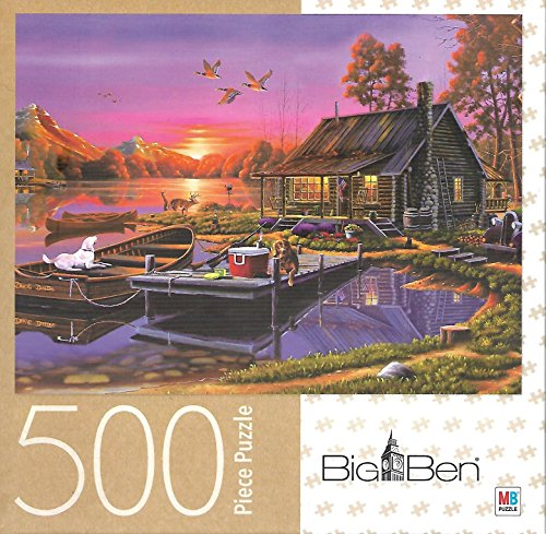 a Busy Day 500 Piece Puzzle Cabin on Lake Canoe Dogs Cooler (Cabin Canoe)