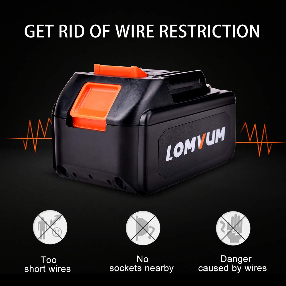 LOMVUM 21V 4.0Ah Lithium Battery Suitable for Brushless Angle Grinder