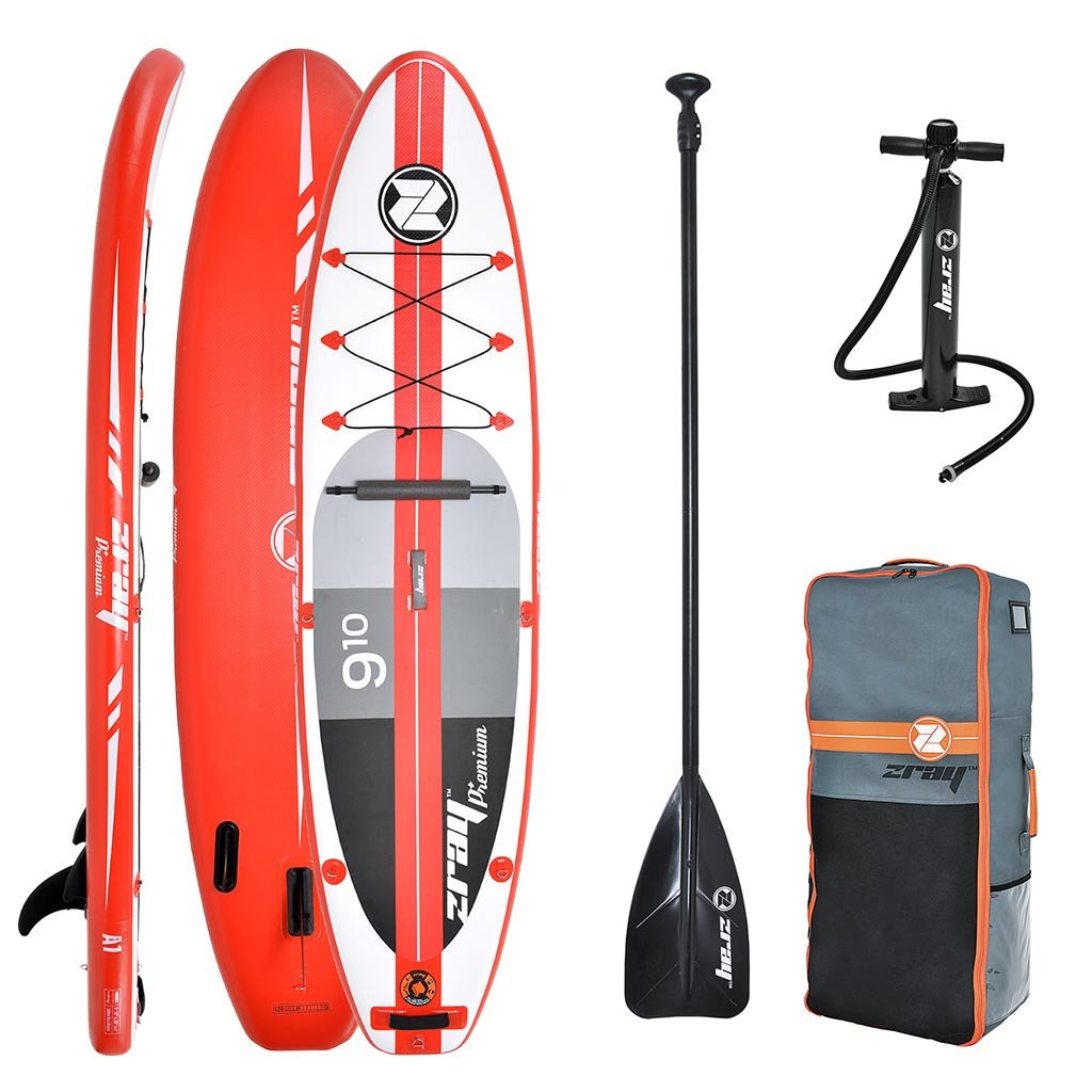 Z-Ray A1 9'10'' Touring SUP Inflatable Stand Up Paddle Board Package w/Pump, Paddle, Footrest and Travel Backpack, 6'' Thick