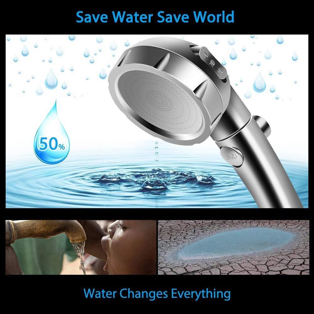 cromato per risparmio idrico 3 diverse impostazioni con interruttore on//off di pausa multifunzione rimovibile KONSANY Soffione doccia ad alta pressione regolabile spa di lusso