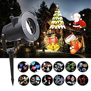 Christmas Lights Projector, 12 Pattern Holiday Projector Outdoor Waterproof Landscape for Decoration Lighting on Halloween Christmas Holiday Birthday Wedding Party