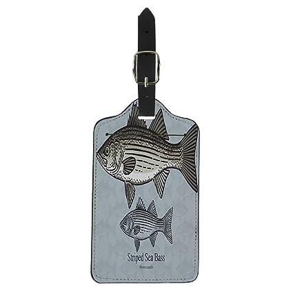 7b47aa89ac50 Amazon.com | Pinbeam Luggage Tag Striped Sea Bass Striper for in ...