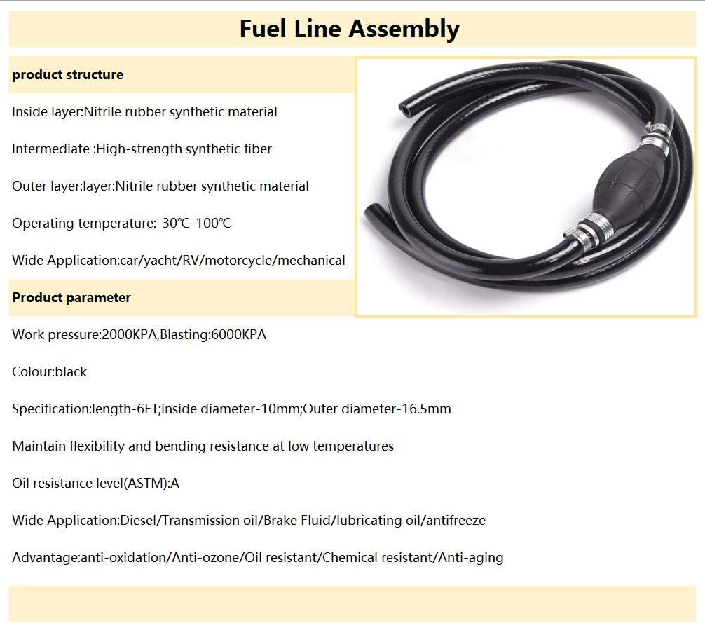 Fuel Line Assembly 3//8 Inner Dia 5//8 6FT Outer Dia Hose Line Marine Outboard Boat Motor RVs Fuel Assembly with Primer Bulb Steel Hose Clamps