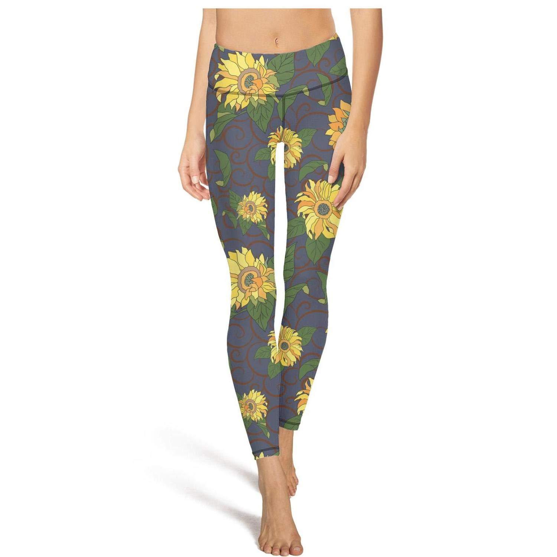 444abc44c High Waisted Leggins Yoga Pants for Women Sports Dance Tights Legging  Pockets Trendy Durable Deep Purple Sunflower at Amazon Women s Clothing  store