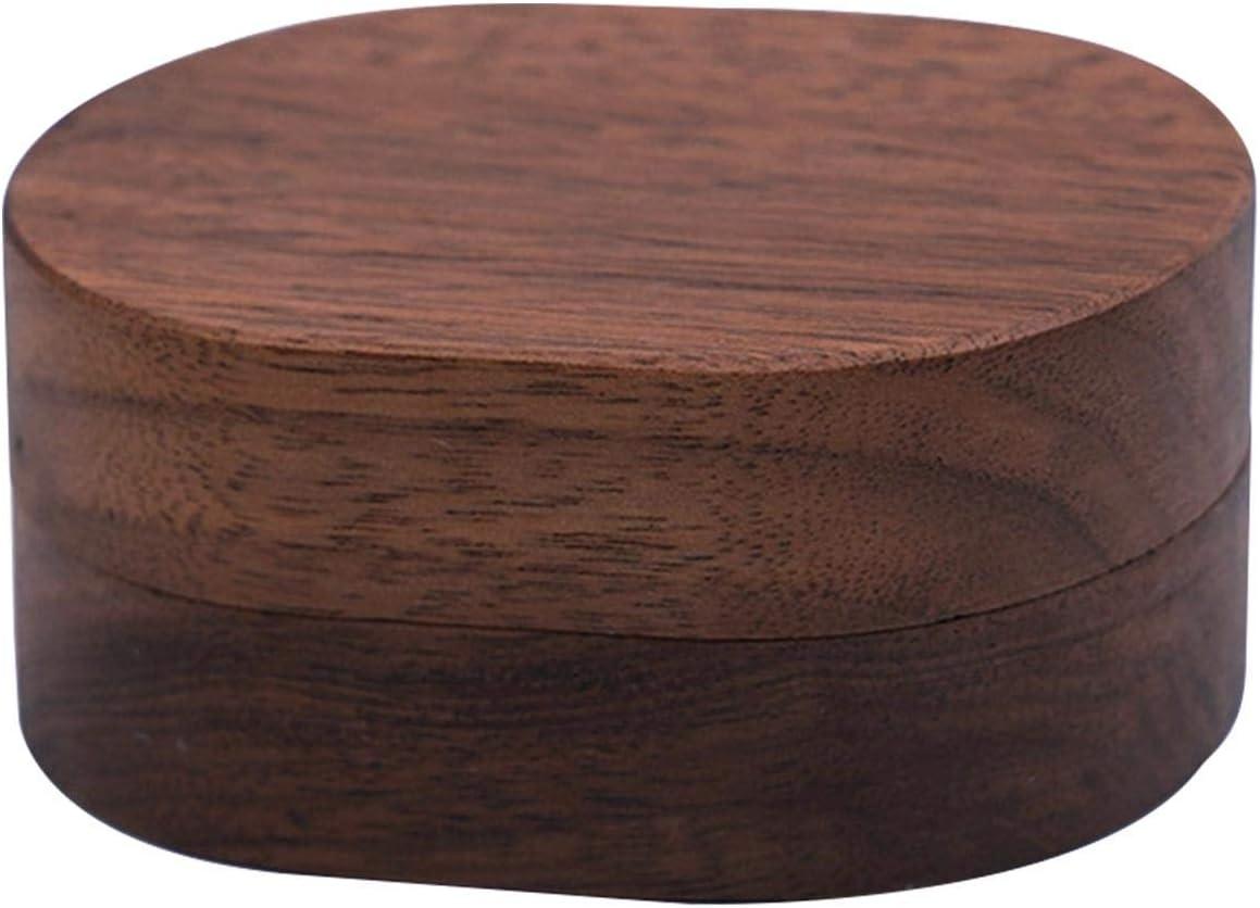 Caja de anillo de compromiso de madera de nogal Fengshengli caja de anillos dobles de madera para propuesta de boda ceremonia anillo portador caja