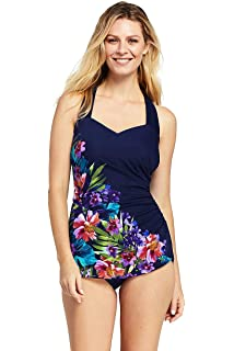 6c3767edee6 Lands' End Women's Slender Tunic One Piece Swimsuit with Tummy Control Print