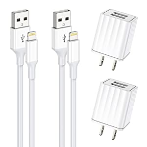 Vagavo for iPhone Charger, MFi Certified Lightning Cable Fast Charging 6ft Data Sync Transfer Cord Dual Port USB Wall Charger Compatible with iPhone 12 11 Xs Max XR X 8 7 6S 6 Plus SE 5S iPad (2 Sets)