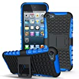 IPod Touch 5/6 Case / IPod Touch 5/6 Cover, iPro Accessories® [SHOCKPROOF] [survivor] [armoured] [iPod Touch 5 / 6 Generation Anti Slip Case] - [armor] [BUILDER ] Impact Resistant Rugged Armour Case - Dual Layer - Kickstand - for Outdoor Use - Shockproof Protection Builder Hard Back Case for Apple iPod Touch 5 / 6 Generation Case Cover (BLUE)