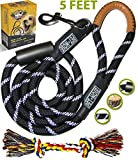 Strong Dog Leash for Medium and Large Dogs with Chew Resistant Mountain Climbing Rope (Black) & Padded Handle for No Pulling Dogs - 5ft Long Heavy Duty Reflective Training Lead - Safety for Night Walk