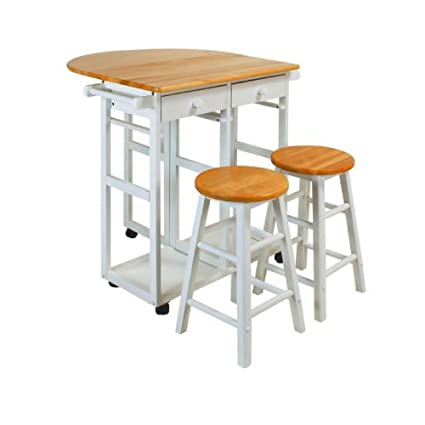 Counter Height Folding Table With Stools U0026 Drawers Solid Hardwood Bar Cart  Flip Up Counter