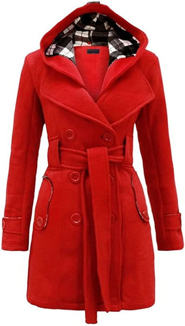 Raylans Womens Plus Size Check Hood Long Duffle Coat Belted Jacket