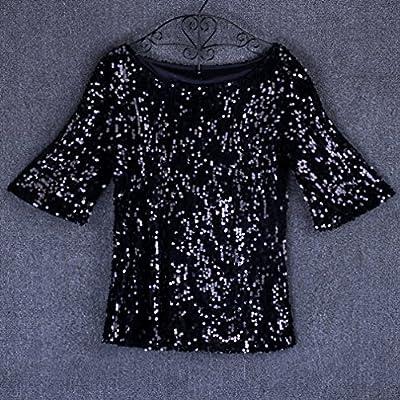 e9c72edc91e Amazon.com  Dolland Women Shiny Sequin Sparkle 3 4 Sleeve Loose T-Shirt  Cocktail Club Party Blouses Tops