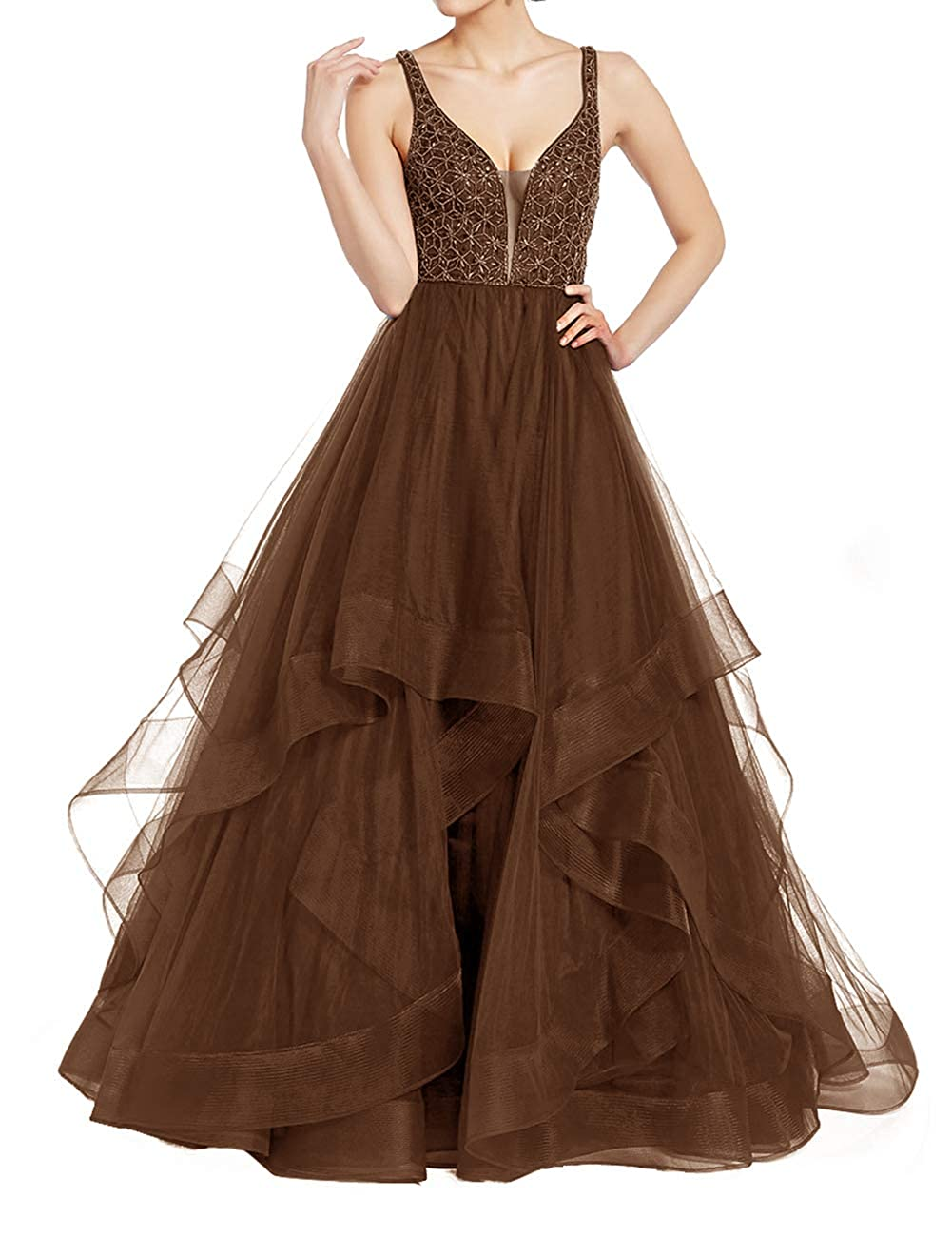Chocolate Uther Elegant Tulle Evening Ball Gowns Long Beaded Formal Prom Party Dresses