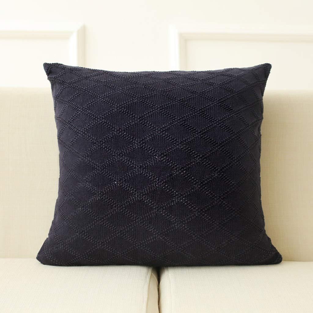ZDNALS Solid Color Pillow, Square Cotton Knit Cushion, Home Decoration Sofa Chair Cushion Multi-Color Optional 45cm×45cm Pillow (Color : C) by ZDNALS